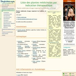 Liste des plantes médicinales par indication thérapeutique