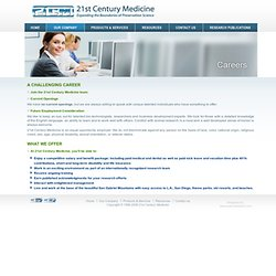 21st Century Medicine --Careers in Advanced Bio Med Preservation