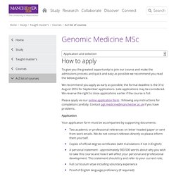 Genomic Medicine MSc - 2016 entry - application and selection