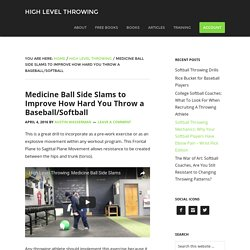 Medicine Ball Side Slams to Improve How Hard You Throw a Baseball/Softball - High Level Throwing -