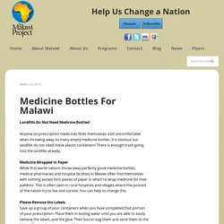 Medicine Bottles For Malawi