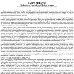 Kampo Medicine: The Practice of Chinese Herbal Medicine in Japan