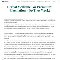 Pak Herbal - Herbal Medicine For Premature Ejaculation - Do They Work?