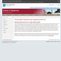 TY School of Medicine:Trinity College Dublin