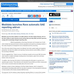 Medidata launches Rave automatic SAE reporting add-on