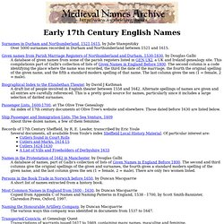 Medieval Naming Guides: Early 17th Century English Names