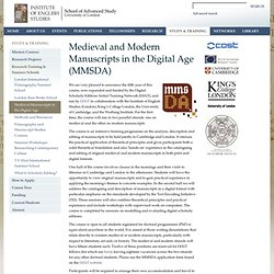 Medieval and Modern Manuscripts in the Digital Age (MMSDA)