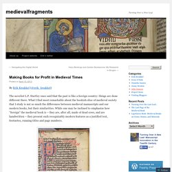 Making Books for Profit in Medieval Times