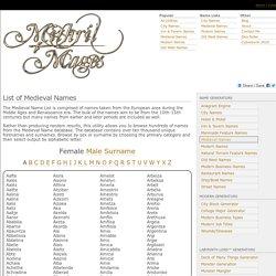 Medieval Name List