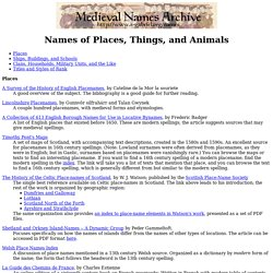 Medieval Naming Guides: Names of Places, Things, and Animals
