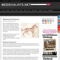 Medieval Pet Names