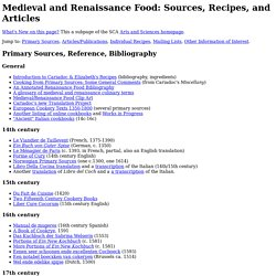 Medieval and Renaissance Food: Sources, Recipes, and Articles