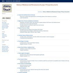 History of Medieval and Renaissance Europe: Primary Documents