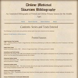 Online Medieval Sources