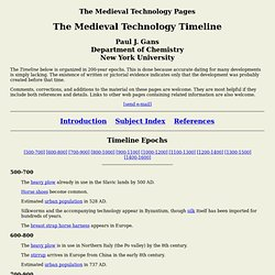 Medieval Technology Pages - Timeline