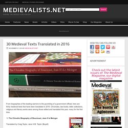 30 Medieval Texts Translated in 2016