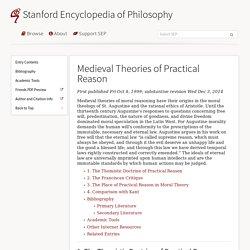 Medieval Theories of Practical Reason