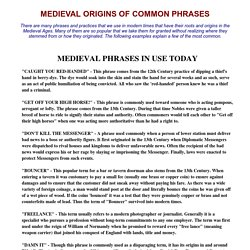 Medieval Words And Phrases