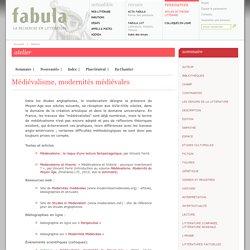 Fabula, Atelier littéaire : Médiévalisme, modernités médiévales
