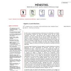 Ménestrel et les médiévistes > Actualités des médiévistes > Appels à contributions