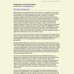 Meditation and Psychedelics