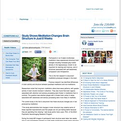 Study Shows Meditation Changes Brain Structure in Just 8 Weeks - Family...