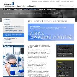 Essence: ateliers de méditation pleine conscience - Faculté de médecine - Université de Montréal