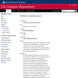Meditation and Depression - The University of Arizona Campus Repository