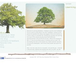 Learning Meditation Home Page
