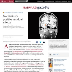 Meditation's positive residual effects