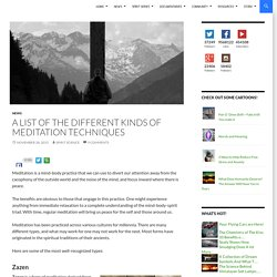 A List of The Different Kinds of Meditation Techniques