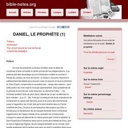 Méditations suivies : Daniel, le prophète (1)
