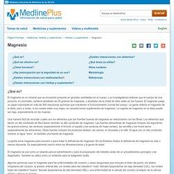 Cloruro de Magnesio: MedlinePlus suplementos