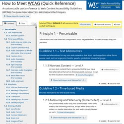 How to Meet WCAG (Quickref Reference)