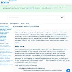 Meeting and webinar passcodes