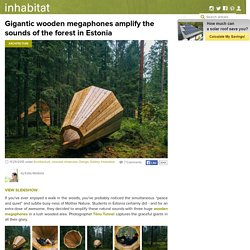 Gigantic wooden megaphones amplify the sounds of the forest in Estonia