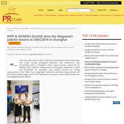 KIPP & ZONEN's DustIQ wins the Megawatt Jadeite Award at SNEC2019 in Shanghai