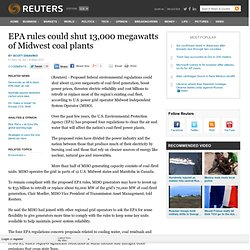 EPA rules could shut 13,000 megawatts of Midwest coal plants