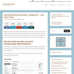 Mehrsprachiger Blog / Webseite – wie geht das?