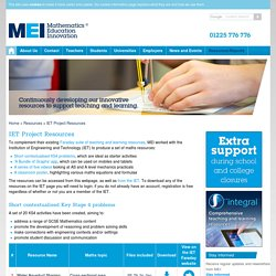 MEI > Resources > IET Project Resources