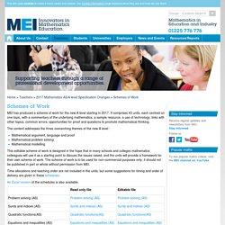 MEI A level Scheme of Work