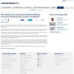 Air France élu meilleur service médias sociaux en relation client d'Europe