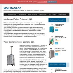 Meilleure Valise Cabine 2016 - Mon Bagage