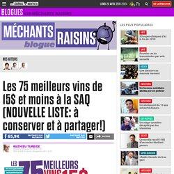 Les 75 meilleurs vins de 15$ et moins à la SAQ (NOUVELLE LISTE: à conserver e...