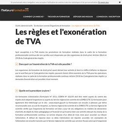 Les règles et l'exonération de TVA / meilleursformateurs.com