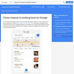 Cómo mejorar tu ranking local en Google - Ayuda de Google Mi Negocio