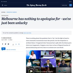 Melbourne has nothing to apologise for - we've just been unlucky