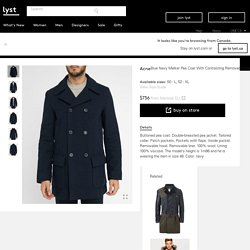 Acne Navy Melker Pea Coat With Contrasting Removable Hood And Liner in Blue for Men (navy)
