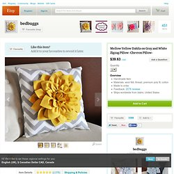 Mellow Yellow Dahlia on Gray and White Zigzag Pillow by bedbuggs