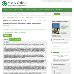 Melodramatic Thought in Contemporary Spanish Documentaries: Hispanic Research Journal: Vol 15, No 1